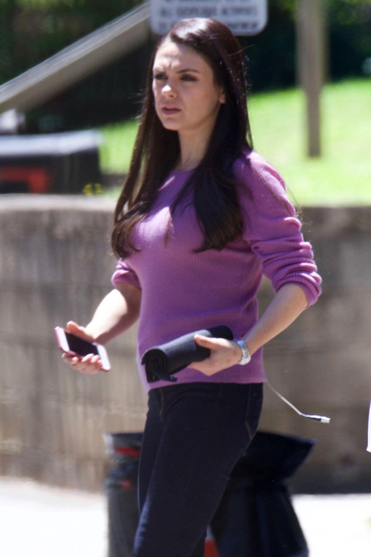 MILA KUNIS Arrives on the Set of Bad Mom