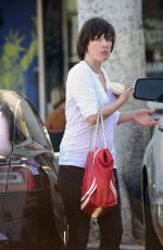 MILLA JOVOVICH Out on Larchmont Blvd in Los Angeles 05/04/2017