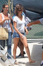 PENELOPE CRUZ in Denim Shorts Arrives at Versace: American Crime Story Set in Miami 05/18/2017