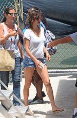 PENELOPE CRUZ in Denim Shorts Arrives at Versace: American Crime Story Set in Miami 05/18/2017