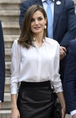 QUEEN LETIZIA Of Spain Arrives at National Library in Madrid 04/05/2017