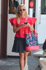 REESE WITHERSPOON in Denim Skirt Leaves a Brunch in Brentwood 05/03/2017