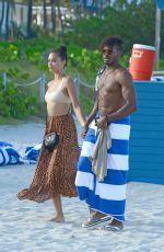 SHANINA SHAIK in Bikini Top at a Beach in Miami 04/30/2017