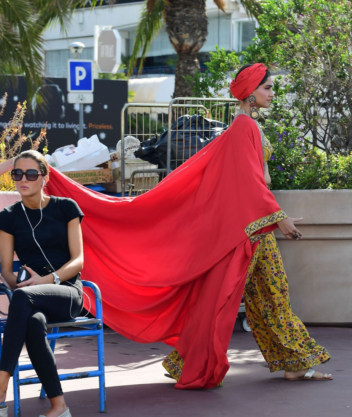 SONAM KAPOOR on the Set of a Photoshoot at a Beach in Cannes 05/22/2017