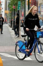 SOPHIE TURNER and Joe Jonas Out Riding Bitibikes in New York 05/07/2017