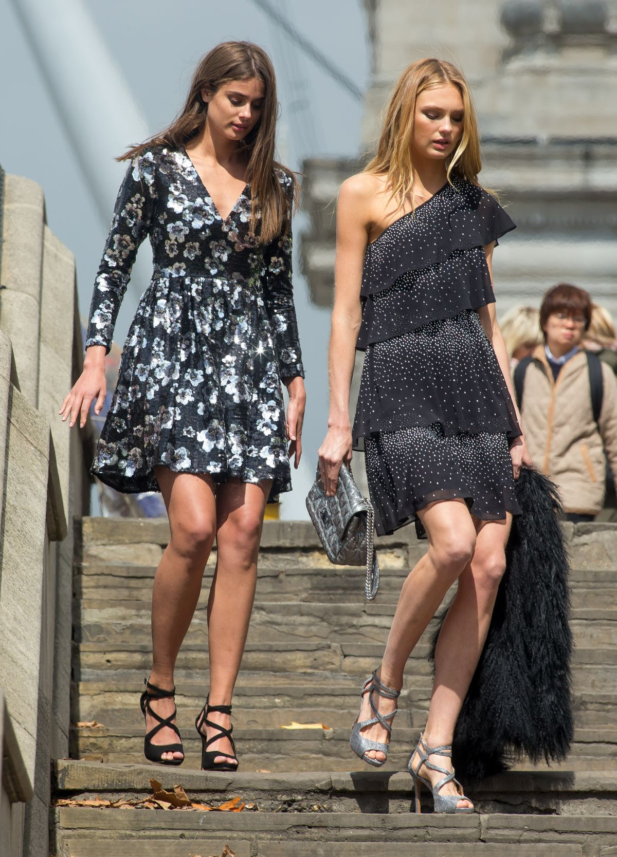 TAYLOR HILL and ROMEE STRIJD at a Photoshoot on Westminster Bridge in London 04/26/2017