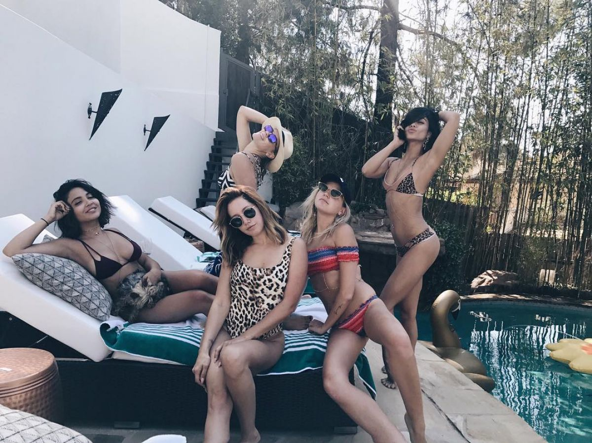 VANESSA and STELLA HUDGENS and ASHLEY TISDALE in Bikinis at a Pool Party 05/27/2017\
