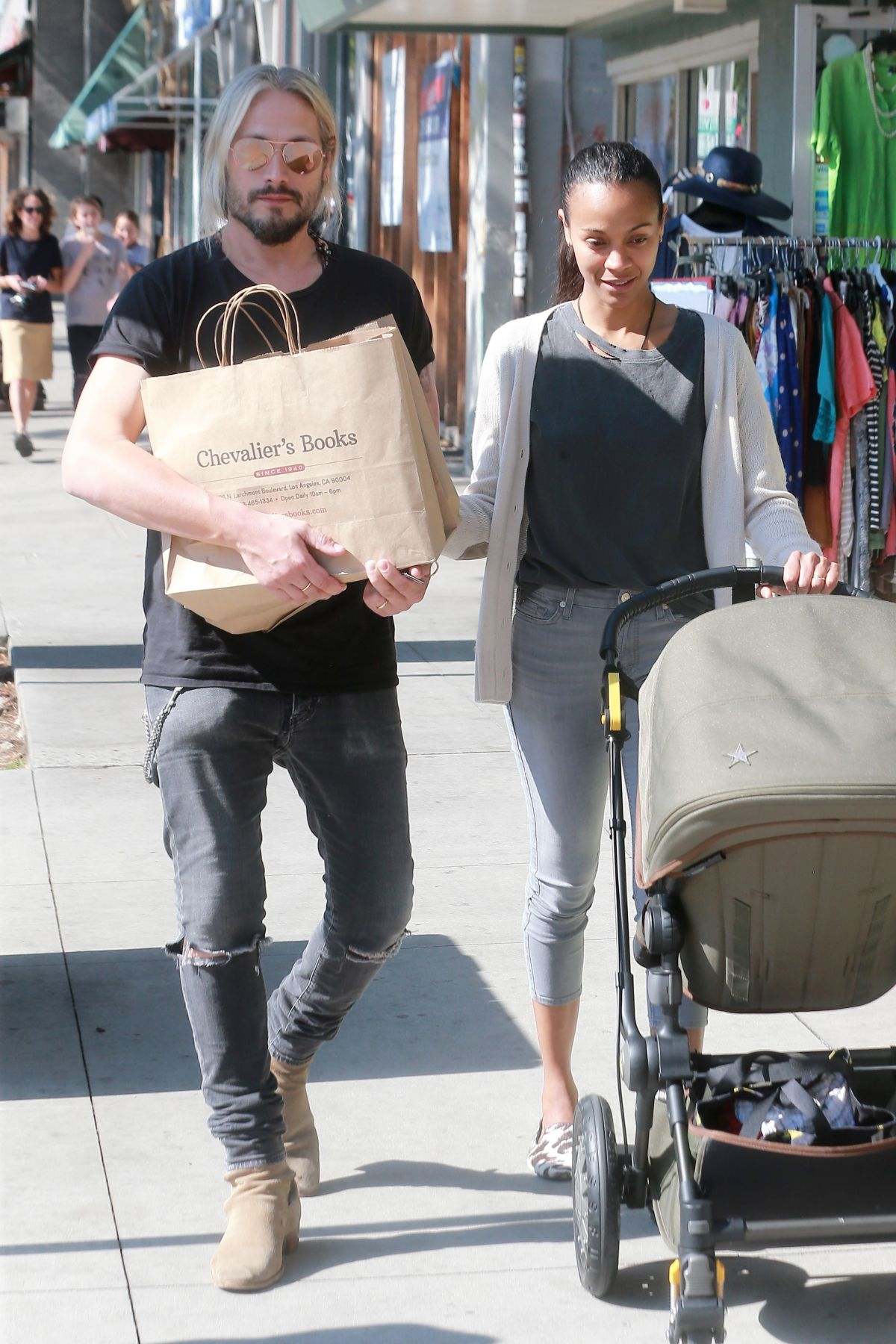 ZOE SALDANA and Marco Perego Out Shopping in Los Angeles 05/12/2017