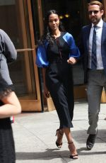 ZOE SALDANA Leaves Her Hotel in New York 05/04/2017