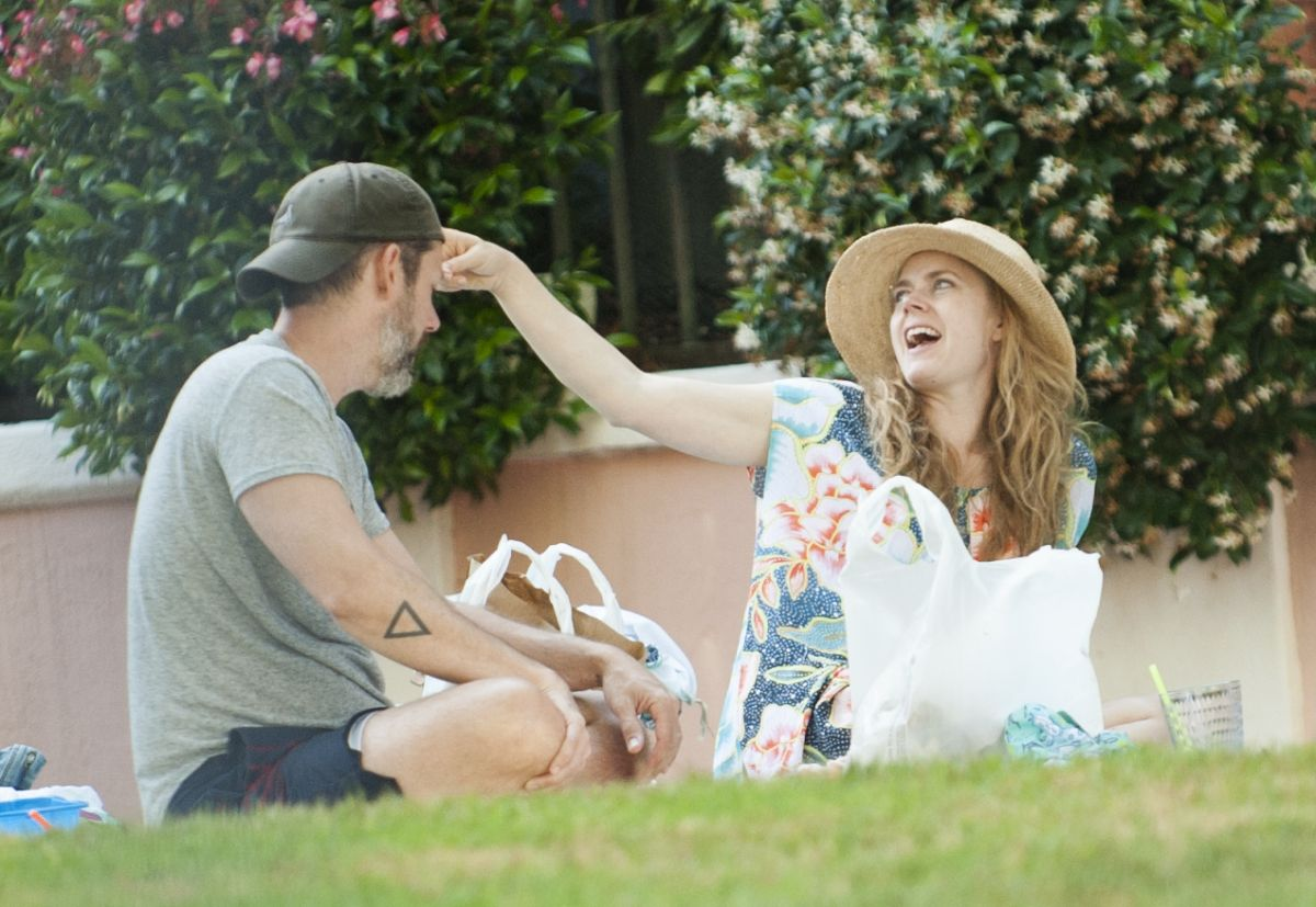 AMY ADAMS and Darren Le Gallo at a Park in Beverly Hills 06/17/2017