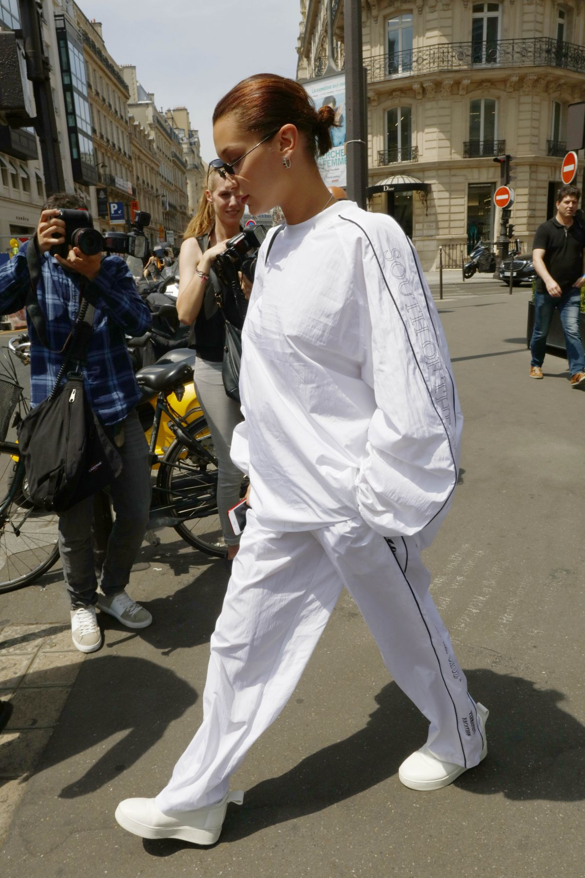 BELLA HADDID All in White Out in Paris 06/22/2017