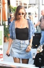BELLA HADID in Denim Skirt Out for Lunch in Beverly Hills 06/20/2017