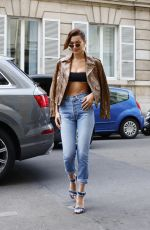 BELLA HADID in Skinny Jeans Out in Paris 06/22/2017
