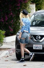 BELLA THORNE in Cut Off Denim Shorts Out in Los Angeles 06/11/2017