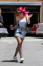 BELLA THORNE in Denim Skirt Out in Los Angeles 06/27/2017