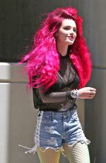BELLA THORNE Shows Neon Pink Hairdo Out in Hollywood 06/14/2017
