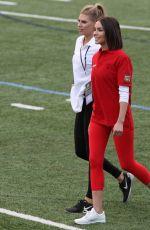 CHARLOTTE MCKINNEY and OLIVIA CULPO Show off Their Football Skills at Harvard in Boston 06/02/2017
