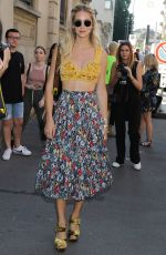 CHIARA FERRAGNI Leaves Prada Show at Milan Men