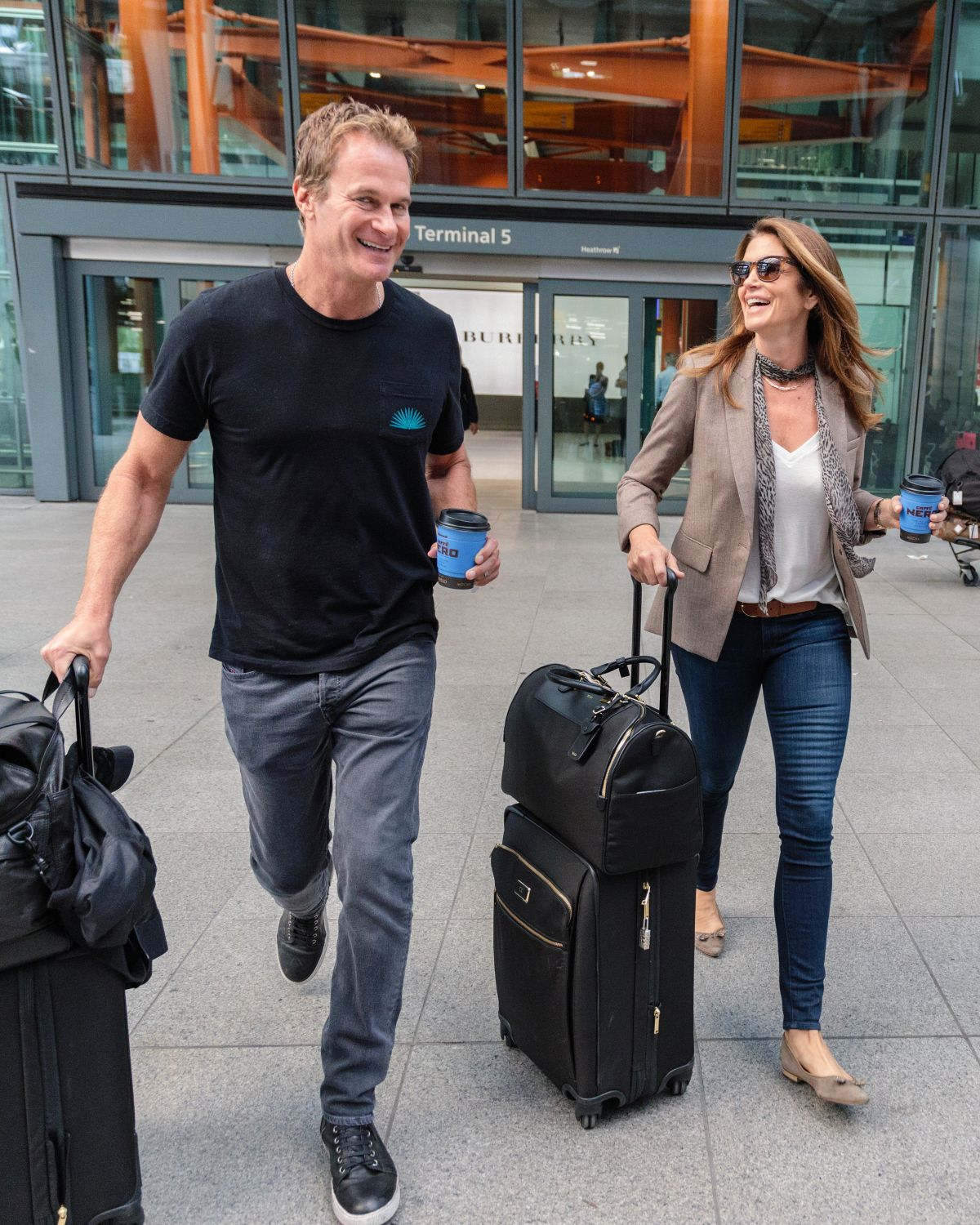CINDY CRAWFORD at Heathrow Airport in London 06/16/2017