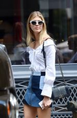 DEVON WINDSOR in Denim Skirt Out in New York 06/09/2017