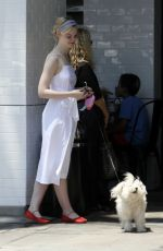 ELLE FANNING Out with Her Dog in Studio City 06/23/2017