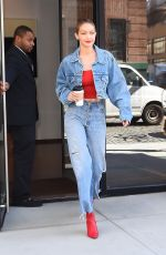 GIGI HADID All in Jeans Leaves Her Apartment in New York 06/29/2017