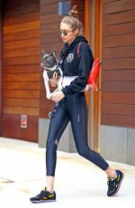 GIGI HADID with Her Dog Leaves Her Apartment in New York 06/13/2017