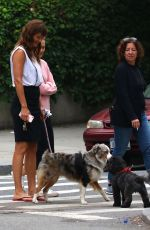 HELENA CHRISTENSEN Walks Her Dog in New York 06/16/2017