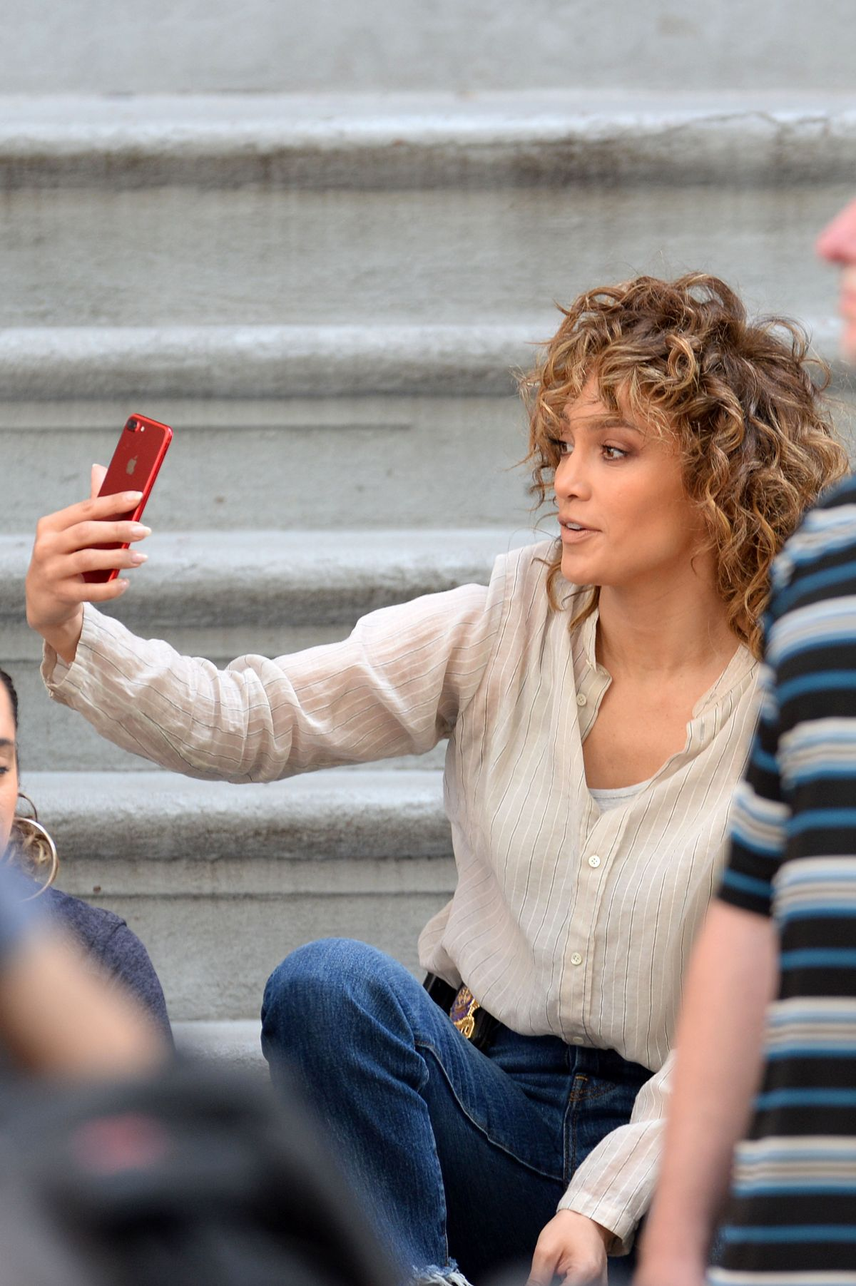 JENNIFER LOPEZ Taking a Selfie on the Set of Shades of Blue in New York 06/28/2017