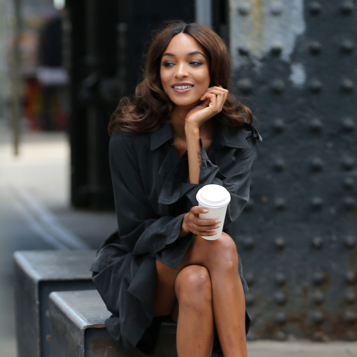 JOURDAN DUNN on the Set of a Photoshoot for Vogue Magazin in New York 06/03/2017