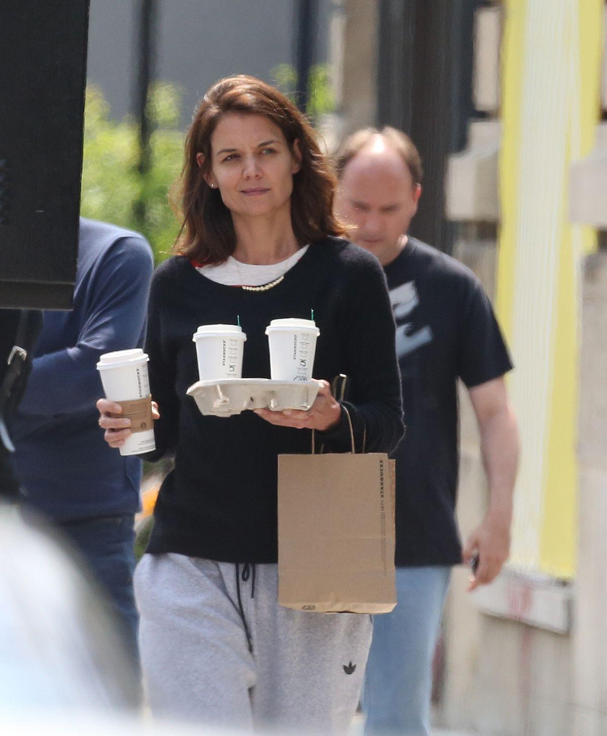 KATIE HOLMES Leaves Starbucks in Montreal 06/20/2017