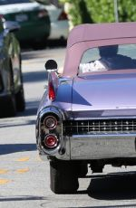 KENDALL JENNER Drives a Ragtop Lavender Cadillac Out in Los Angeles 06/17/2017