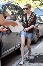 KIRSTEN DUNST in Denim Skirt Out in New York 06/20/2017