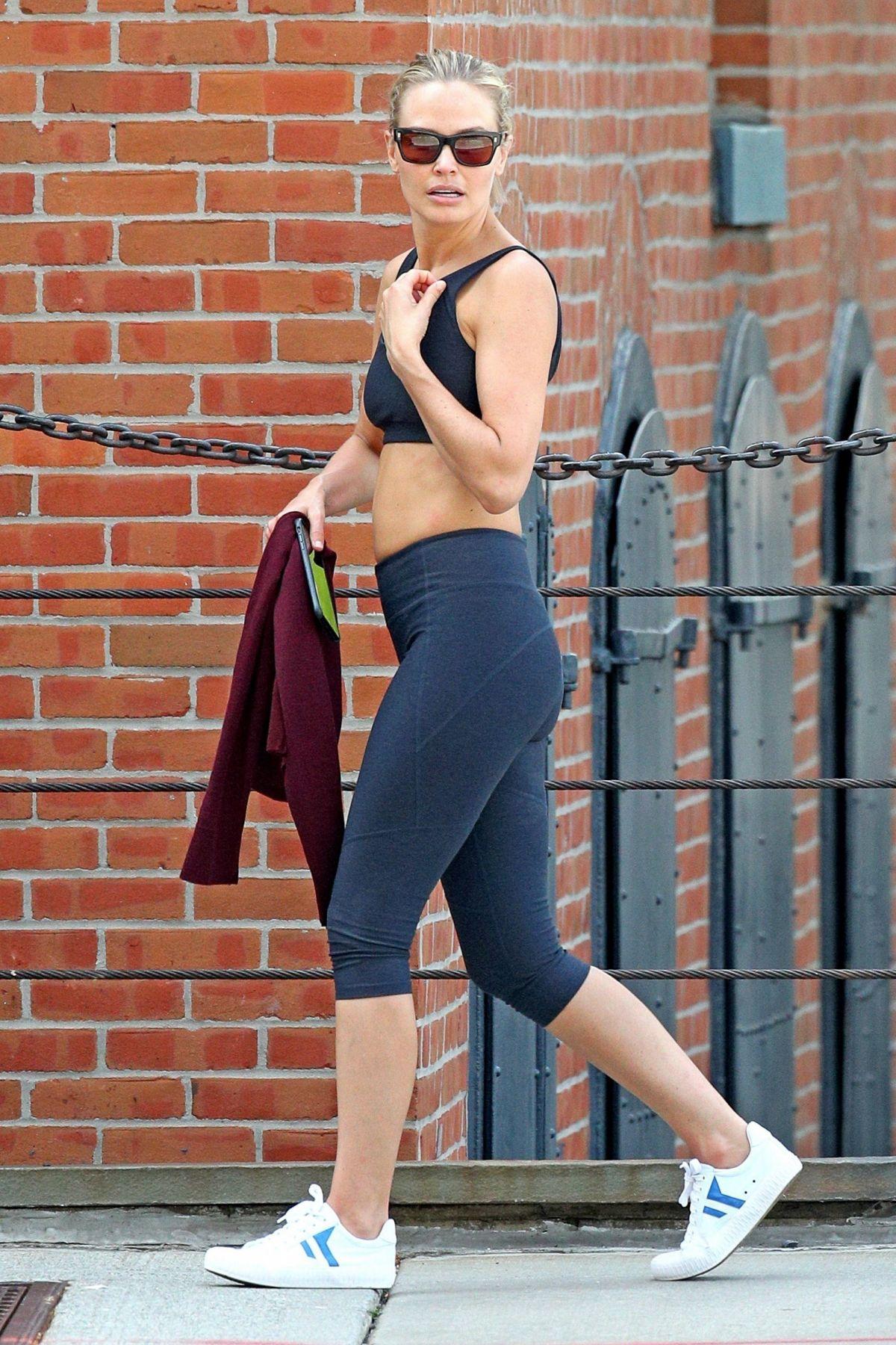 LARA BINGLE in Leggings Out in New York 06/18/2017