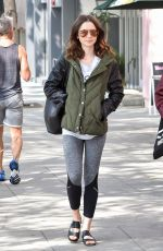 LILY COLLINS Leaves a Gym in Los Angeles 06/02/2017