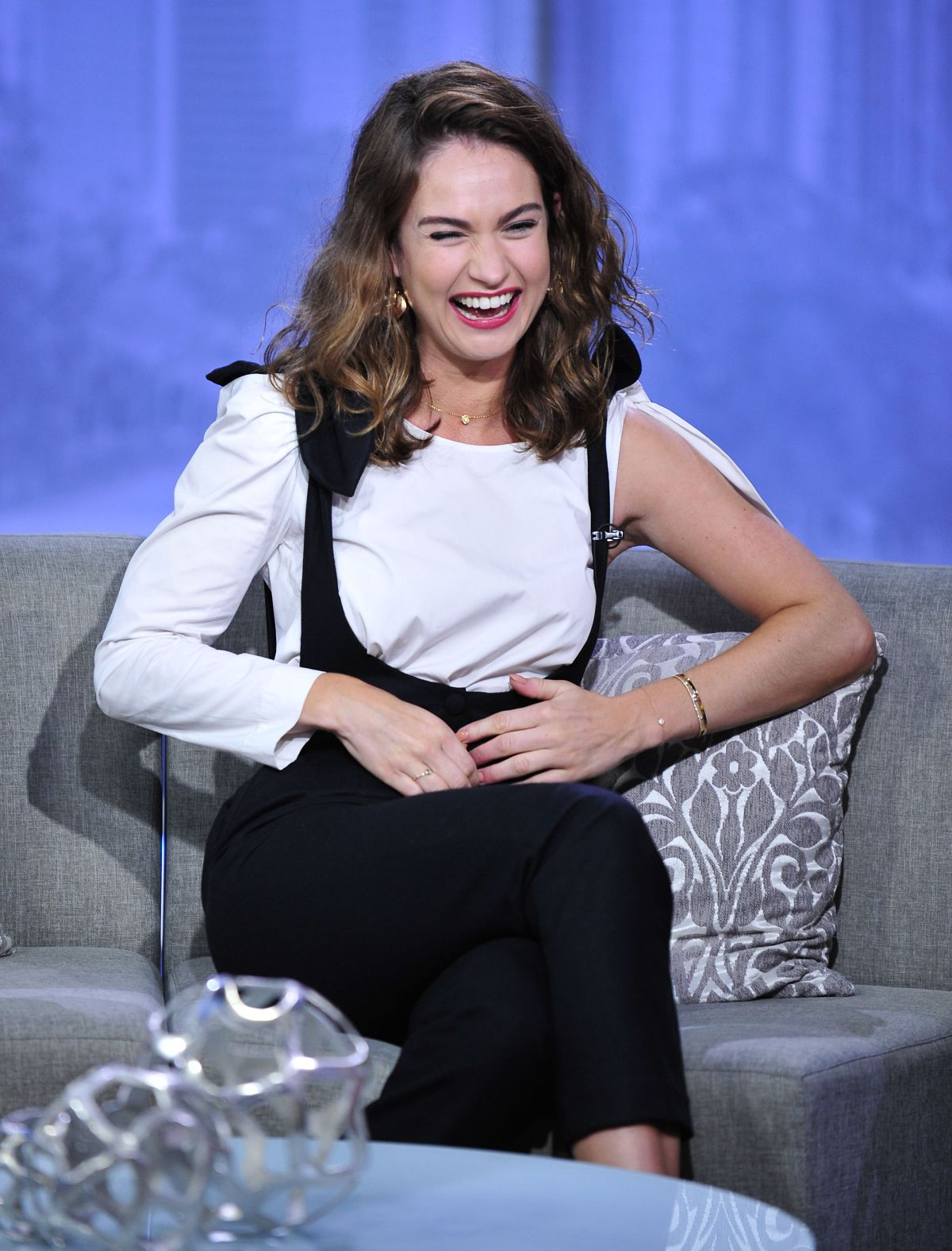 LILY JAMES on the Set of Good Day L.A. in Los Angeles 06/13/2017