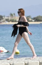 LINDSAY LOHAN in Swimsuit at a Beach in Mykonos 06/29/2017