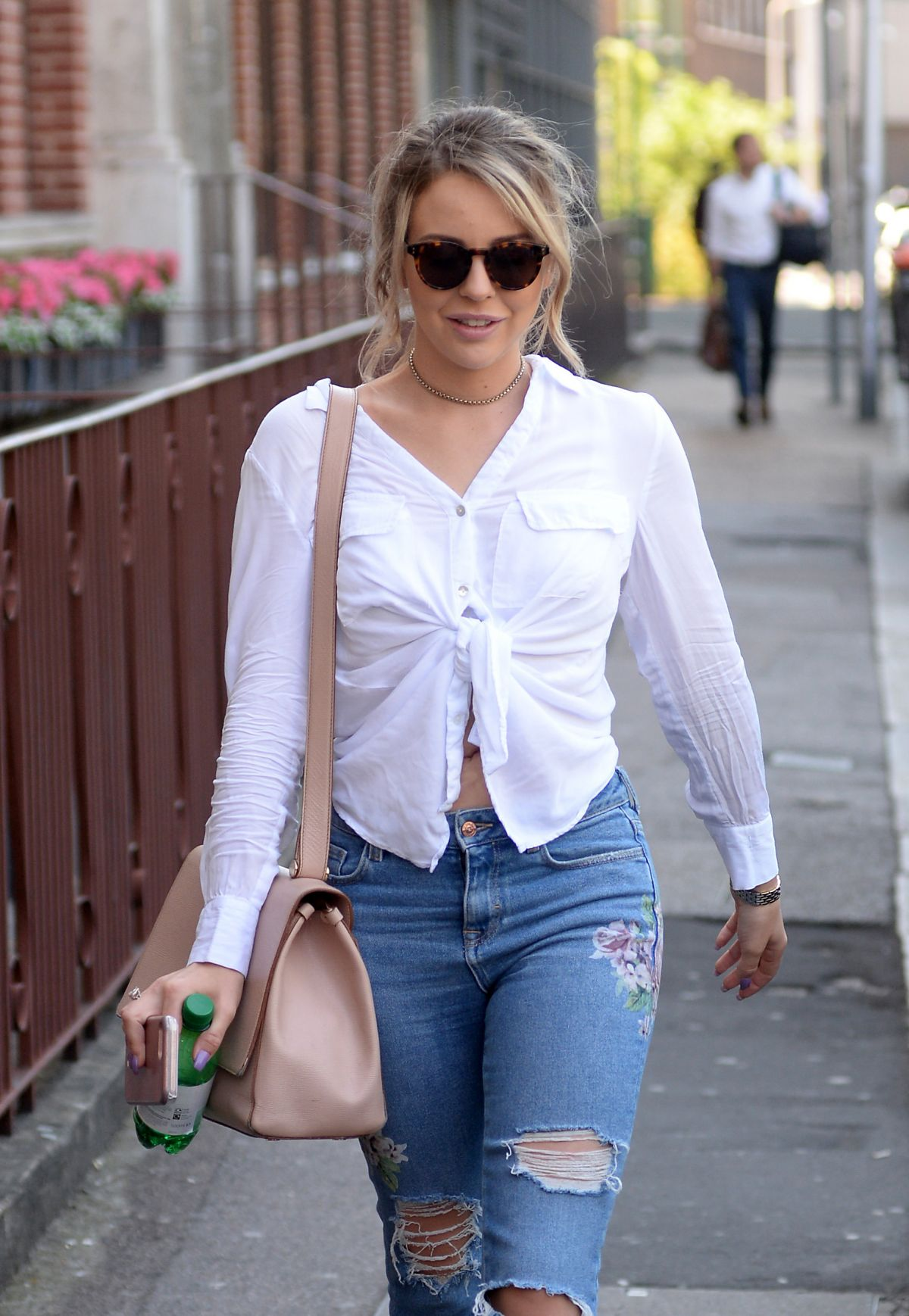 LYDIA BRIGHT in Ripped Jeans Out in London 06/15/2017