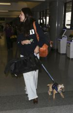 MADELEINE STOWE with Her Dog at LAX Airport in Los Angeles 05/31/2017