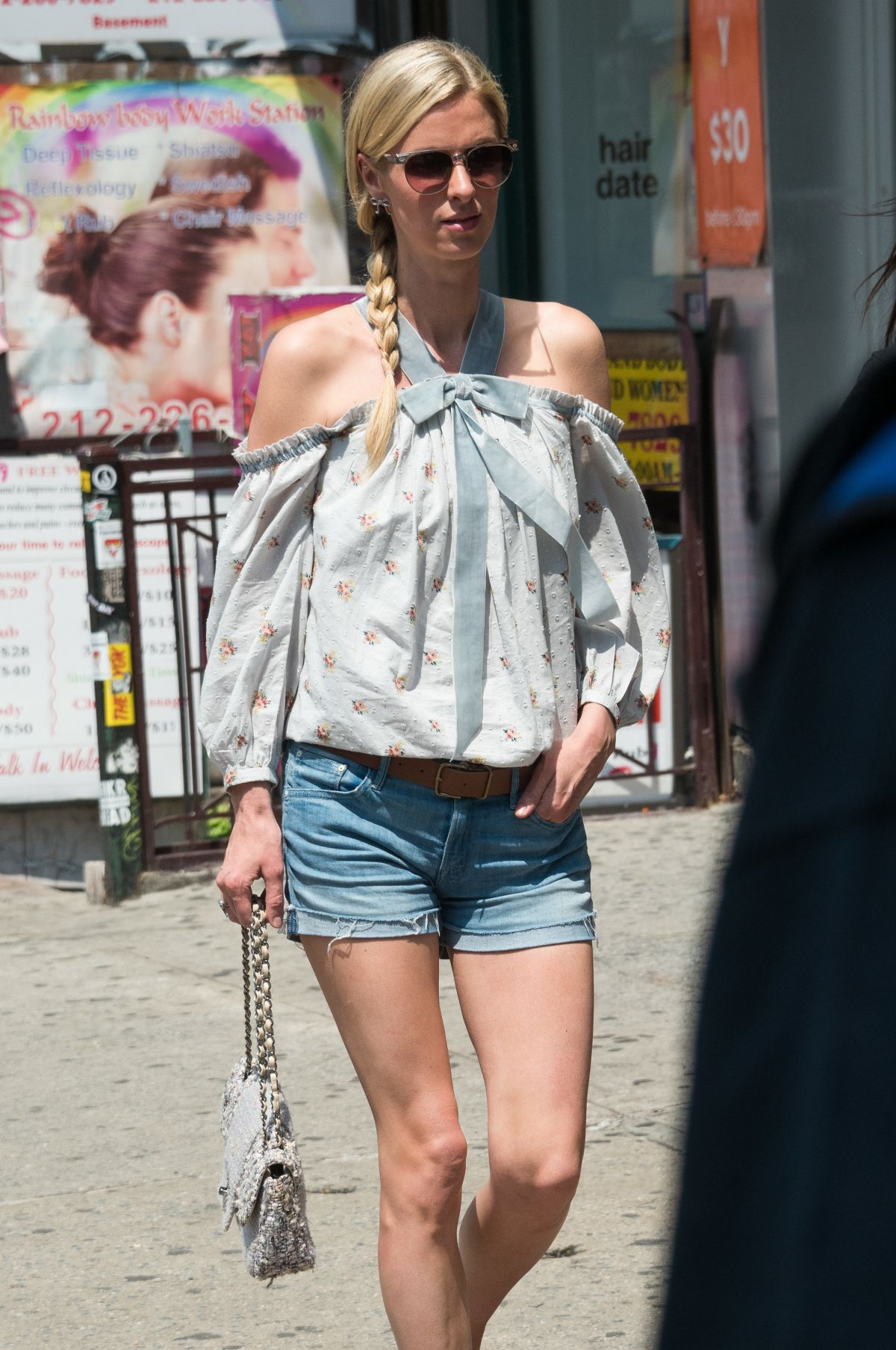 NICKY HILTON in Denim Shorts Out in New York 06/22/2017