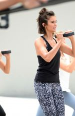 NINA DOBREV Shooting a Video for New Reebok Fitness Collection in Venice 06/28/2017