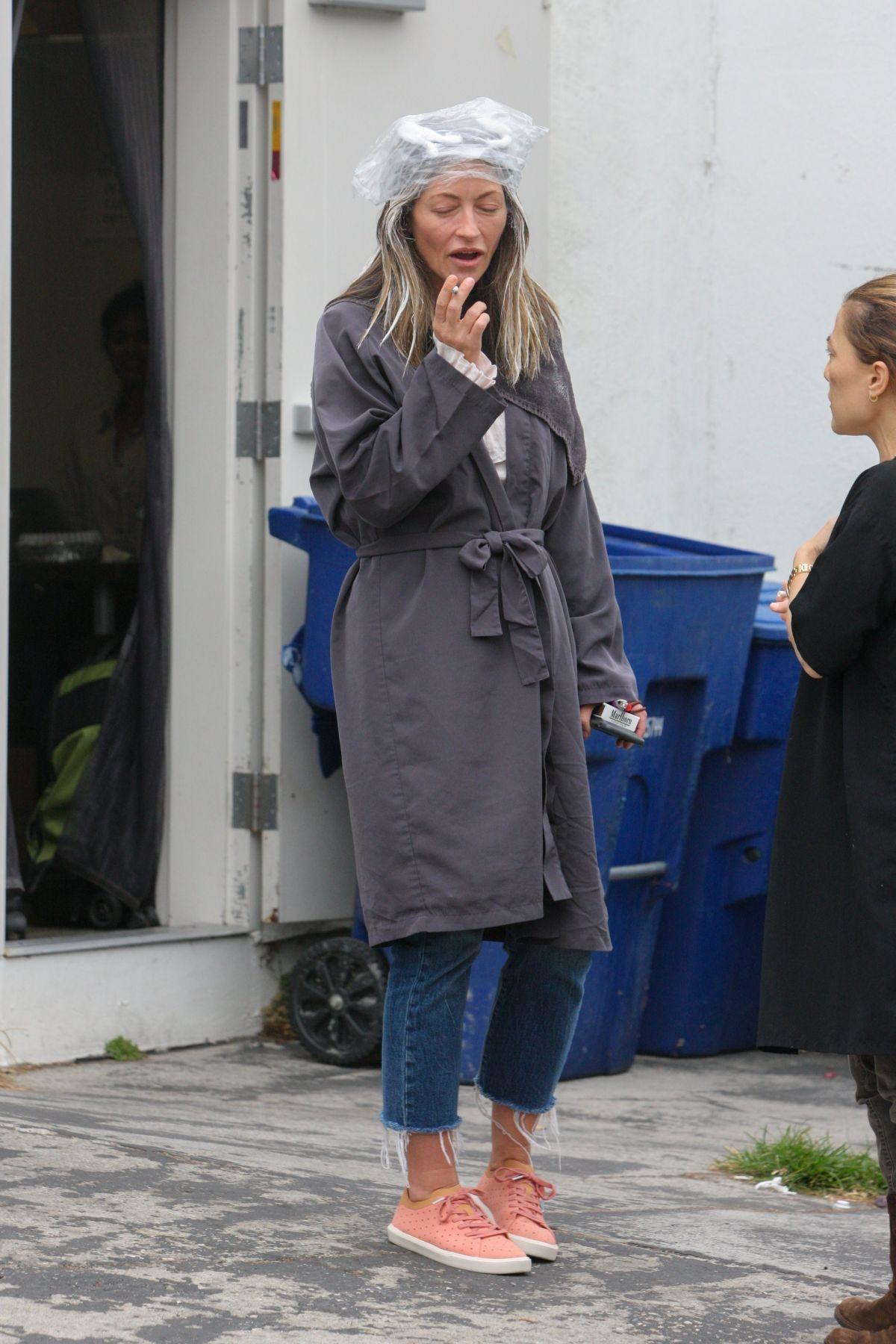 Rebecca Gayheart Takes A Cigarette Break Outside A Hair