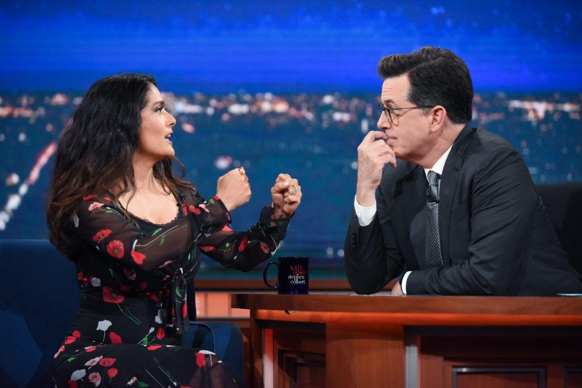 SALMA HAYEK at Late Show with Stephen Colbert 06/06/2017