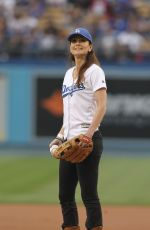 SARAH WAYNE CALLIES Throws First Pitch at Dodgers Game in Los Angeles 06/06/2017