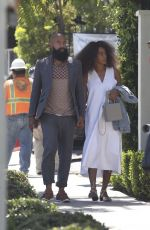 SOLANGE KNOWLES Arrives at Gracias Madre Restaurant in West Hollywood 06/14/2017