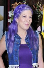 TORI SPELLING Shows of New Purple Hair in Los Angeles 06/16/2017