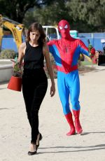 ALEXA CHUNG with Spider-man in a Red