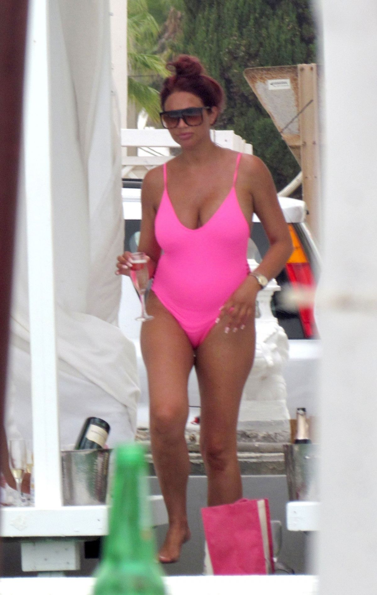 AMY CHILDS in Swimsuit at a Pool in Ibiza 07/19/2017