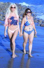 ANGELIQUE FRENCHY MORGAN and JENNA URBAN at a Beach in Malibu 07/04/2017