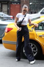 BELLA HADID Leaves a Cab Out in New York 07/29/2017